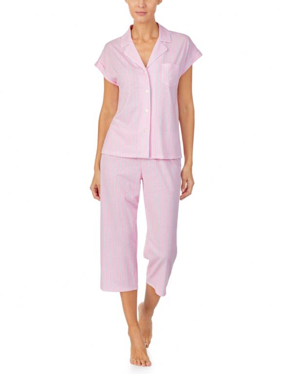 Knit Collar Capri Pyjama Set 91788